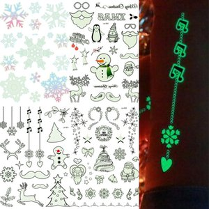 Noctilucent Tattoo Stickers Christmas Prevent Water Tattoos Rave Party Man Woman Multi Styles Fluorescent Sticker Eco Friendly 2rk L1