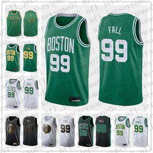2020 mujeres de los hombres de encargo de la juventud de BostonCeltics99 Tacko Fall verde negro blanco de la vuelta de Baloncesto EdiciónNBAJersey