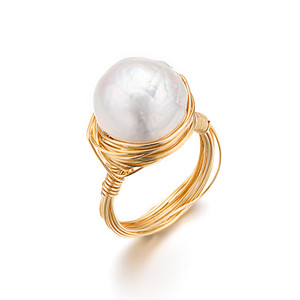 Rings of High Luster Baroque Freshwater Natural Pearl Jewelry Original Design for Women Lady Party Wedding Gift