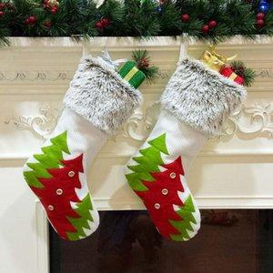 Christmas Stocking 45*27cm Tree Printed Hanging Socks Xmas Candy Bag Stocking Decor Socks Gift 20pcs OOA7294