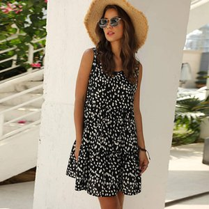 Dot Sleeveless A-line Summer Cascading Ruffle Above Knee, Mini O-neck Streetwear Tank Natural Msfilia