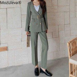 Zu 2020 Herbst mit V-Ausschnitt-Kragen Zweireihern Frauen nehmen BlazerHigh Taille Taschen Gerades Anzughose Zwei Stücke Sets