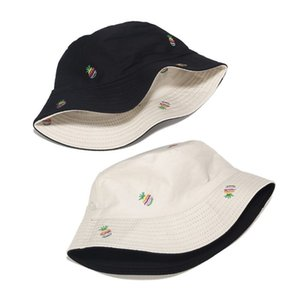 Women Summer Tropical Bucket Hat Rainbow Stripes Pineapple Embroidery Reversible Wide Brim Double Sided Fisherman Cap