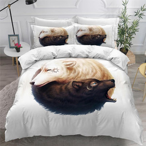 3D Duvet Cover Sets Quilt Covers Comforter Case Set Bedding King Queen Twin Double Single Size Bed Linens Yin Ying Bears