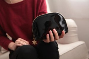 Black Lacquer Cosmetic Bag Woman Girls Handbag Gift Makeup Organizer Beauty Toiletry Wash Home Storage Bags Purse 9jw3 bb