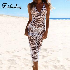 Fitshinling Backless ручной работы крючок пляж длинных платьев летнего женского сарафана выдалбливает Boho лето макси платья женщин парео