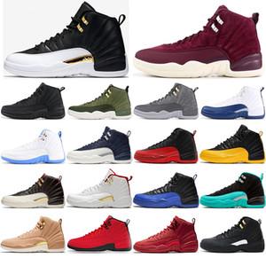 Nike AIR Jordan 12 ücretsiz çorap 12s Koyu Gri Oyun Kraliyet FIBA Oyun Topu ovo Beyaz Playoff Erkekler Basketbol Ayakkabı 12 Mavi Fransız Mavi CNY Sneakers ile