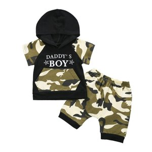 Fashion Boys Clothing Summer Boy Set Camo Boy Hoody + Shorts Casual Kids Suit Children Sports Suit