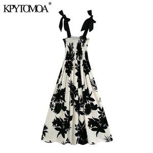 KPYTOMOA Mulheres 2020 Moda Com Bow Printed linho Midi Vestido Smocked Vintage alças largas Feminino Vestidos Vestidos Mujer