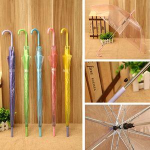 Tanz-Performance Langer Griff Regenbogen Regenschirme transparenter frei PVC-Schirm-Strand-Hochzeit Bunten Regenschirm für Männer Frauen Jugendliche BC BH0998