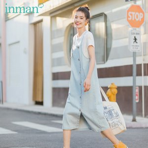 INMAN 2020 Summer New Arrival Literary Iean Suspenders With Leisure Short Sleeve T-shirt Two-piece Suit T200716