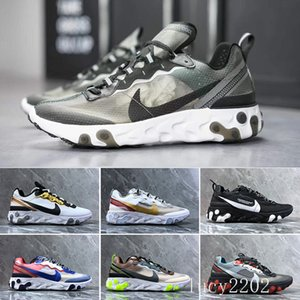 2019 React Element 87 Volt 55 Game Royal Taped Seams Running Shoes For Women men 55s Blue Chill Trainer 87s Sail Sports Sneakers SGGK9