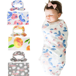Infant Newborn Flower Print Bowknot Headbands Sleeping Receiving Blanket Set Comfortable Baby Bedding Swaddle Cute Headband Sets