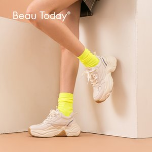 BeauToday Chunky Sneakers Women Dad Shoes Nylon Mesh Genuine Cow Leather Lace-Up Lady Casual Thick Sole Shoes Handmade 29325 CX200722