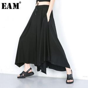 [EAM] High Elastic Waist Black Leisure Wide Leg Long Trousers New Loose Fit Pants Women Fashion Tide Spring Autumn 2020 JU667