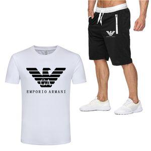 Armáni Designer New Fashion Men Shirts Shorts Set Summer Casual Printed Shirt Homme Short Male Printing Dress Suit Sets Plus Size