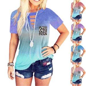 Summer women's fashion printed T-Shirt Hallow Out neck sweatshirts Cheap ladies Leopard Pocket Tie-dye Tank
