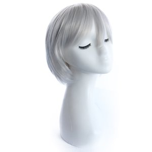 Short high temperature wire hair look real cool anmie cosplay fiber wig button net silver white synthetic wigs on sale at low price