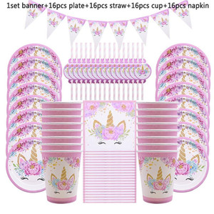 65 / 81pcs Unicorn Party Supplies Kindergeburtstag Dekoration Einweggeschirr Set Pappteller Cup Banner-Babyparty-Mädchen-Dekor