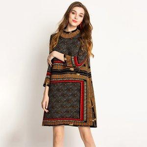 LANMREM 2020 Plissee Kleidung für Frauen Turtleneck-Druck-Kleid Frühlings-Sommer-neue Art und Weise weiblichen Qualitäts-heißen Verkauf YG206