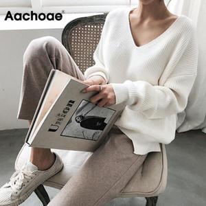 Aachoae Mujeres Suéteres Otoño Invierno 2020 V mujeres del cuello informal suéter suéter sólido de manga larga suelta de punto de cachemir Top T200729