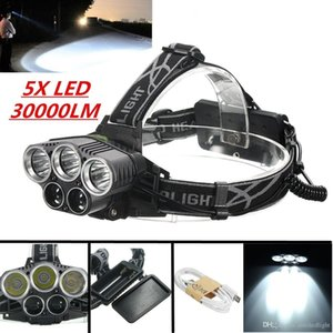 Zoomable T6 Xm-L+2R5 Led Headlight 8000Lm Headlamp Flashlight Head Torch Xml T6 18650 Battery Ac Car Charger Fishing Light
