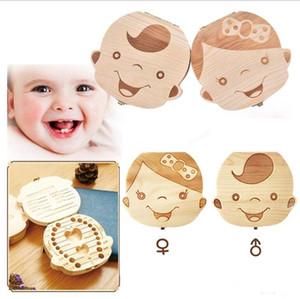 Bebek Kaydet Süt Dişler Erkekler Kızlar Ahşap Organizatör Saklama Kutuları Yaratıcı Hediye Keepsakes A122605 İspanyolca İngilizce Japonca Fransızca Diş Kutusu