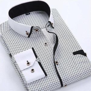 Mens vestido camisas Designer Casual Slim Fit manga comprida Negócios shirt masculino Dot impressão de algodão Formal outono Shirts Men Nova Marca