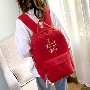Women Backpack Rucksack Candy Color School Bag Simple Shoulders Student School Bag Strawberry print Mochila travel Pendant Book