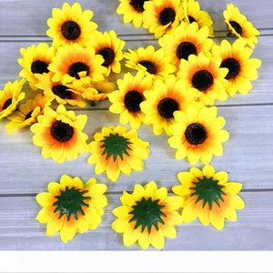 Silk Sunflower Buds Artificial Flower Heads 7CM Wedding DIY Wreath Hair Faux Flowers Bridal Bouquet Decoration Arts Crafts