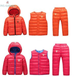 3pcs Autumn and winter baby girls clothes Children Down Cotton Suit Winter Coat for girls outwear Children's Jacket Set for boys