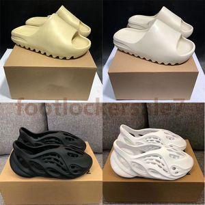 Mit Box Kanye West Slides Männer Frauen Mode Luxe Foam Runner Slipper Triple Black weiße Harz-Earth Brown Sandale Kinder Hausschuhe pantoufle
