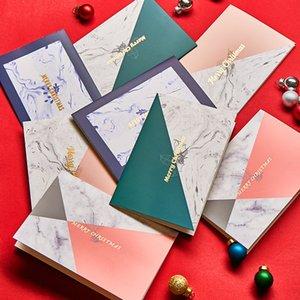 Contraste Natal marmoreado Nordic Business Card fresco pequeno Natal colorida Cartão Com Envelope Set Cartão de Natal