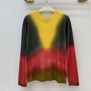 European and American women's wear 2020 summer new style Long-sleeved rainbow contrast color fashion knitted cashmere sweater