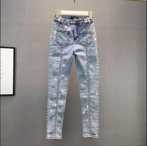 2020 Spring Autumn Jeans for Women New European Elastic Slim High Waist Diamond Jeans Pants Female Stretch Denim Pencil Pants