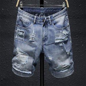 Fashion Mens Hip Hop Ripped Jeans Destroyed Skinny Biker White stripe Decorated Light Blue Denim Pants mens jeans shorts Hip Hop pants
