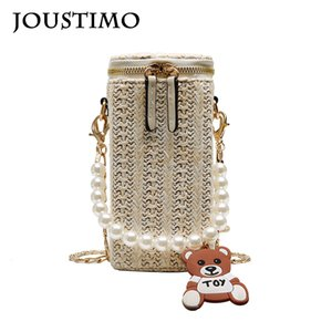 Shoulder Bags for Women Straw Knitted Messenger Bags Pearl Bear Hanging Ornament Chain Cellphone Bags Casual Small Beach Handbag
