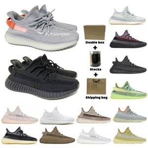 2020 TOP Kalite Çift Kutu Kanye West V2 Erkekler Kadınlar Ayakkabı Koşu Zebra cüruf Kuyruk Işık Yansıtıcı Asriel'den Keten spor ayakkabısı 36-48 yarısı