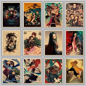 Anime japonais démon Slayer Kraft Poster: Kimetsu Pas Yaiba Kamado Tanjirou Kamado Nezuko Wall Sticker Poster Home Decor VEt6 #