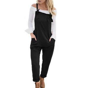 2020 Spring Femmes Pocket Lin Coton solides en vrac Combinaison large ensemble Pantalons Pantalons