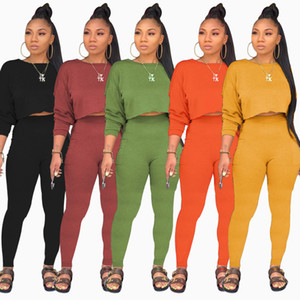 donne di estate a due pezzi abiti pantaloni tasca felpa lunga rotonda del collo di modo stabilito donne più di formato dei vestiti