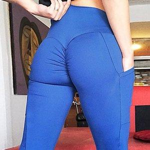 colaterais cintura alta duplas bolso culatra yoga Yoga Pants Calças Mulher de levantamento de quadril