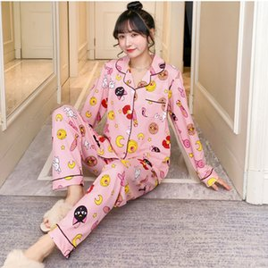 Primavera de impresión para mujer Inicio desgaste rosa de manga larga bolsillo dulce pijamas de la ropa de noche femenina ocasional del verano 2020 señoras a casa ropa Y200708