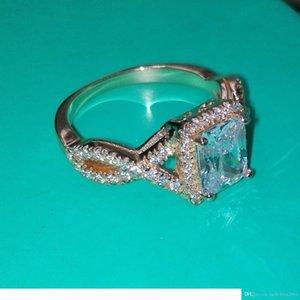 M Wholesale Luxury Jewelry 925 Sterling Silver &Rose Gold Plated Princess White Topaz Cz Diamond Wedding Engagment Women Band Ring Size