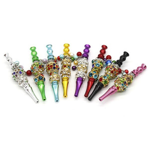 DHL Bling Blunt Holder Smoking pipe Tool metal Hookah Mouthpiece Mouth Tips Pendant Shisha Skull Shaped Filter