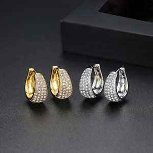 Cubic Zirconia Circle Ring Earings for Womens Ladies Simple Gold Color Filled CZ Hoops Earrings Fashion Christmas Gift Jewelry