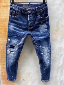 2020 Hot Style Men's Skinny Stretch Jeans Gold Embroidery Jeans Men Soft Pants Large Size Fit All Season Trend Men's Apparel Clothing1055#