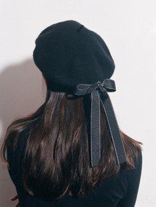 Harajuku personalized bow wool Korean style fashionable lady tianbeilei Painter's hat beret beret painter hat versatile black
