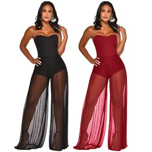 Womens Sexy Mesh Patchwork Off Shoulder Jumpsuit Casual Strapless Transparent Mesh Long Pants Rompers Bodycon Night Club Overalls