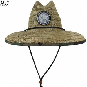 Natural de paja de la armadura de las mujeres del verano de la playa Sombrero de sol al aire libre del borde ancho del camuflaje Kahuna salvavidas sombrero Tamaño 56 58 CM Tea Party Sombreros Sombrero de lluvia # 5A08